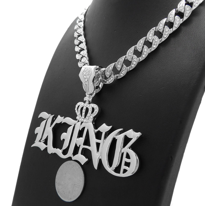 "Hip Hop White Gold PT Crowned King Pendant & 10mm 18"" 20"" 24"" Iced Cuban Chain Bling Necklace"