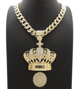 Hip Hop Gold PT King Crown Pendant & 10mm 18