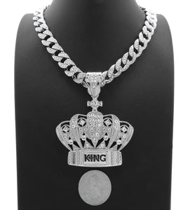 Hip Hop White Gold PT King Crown Pendant & 10mm 18