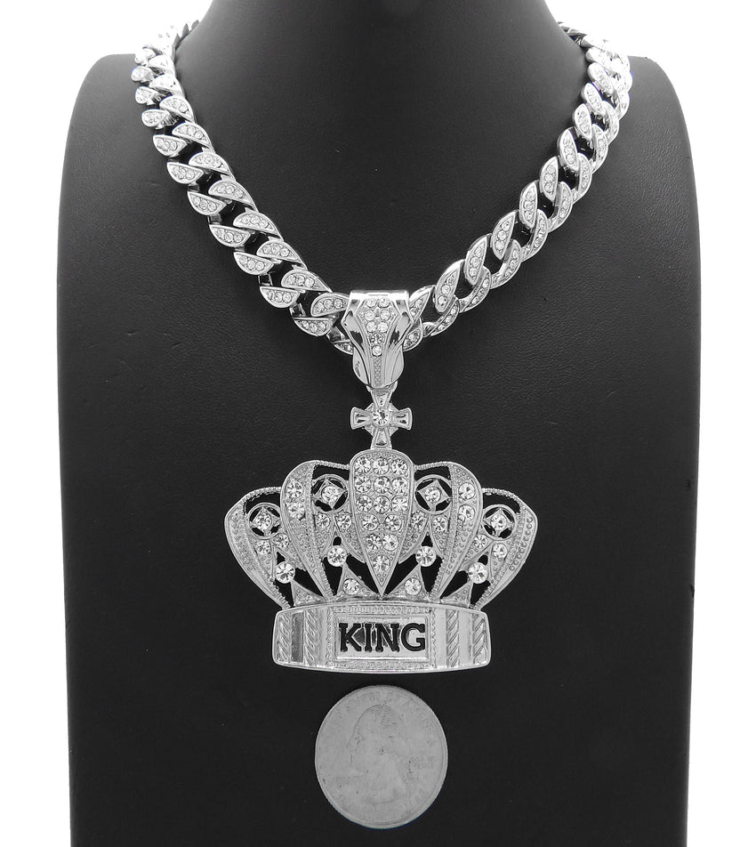 "Hip Hop White Gold PT King Crown Pendant & 10mm 18"" 20"" 24"" Iced Cuban Chain Bling Necklace"