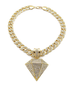 Hip Hop Gold PT Diamond Shape Pendant & 10mm 18