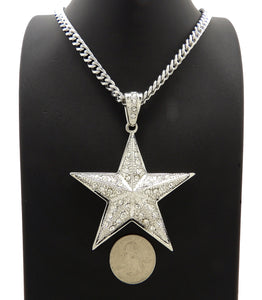 Silver PT Iced Large Star Bling Pendant & 6mm 24