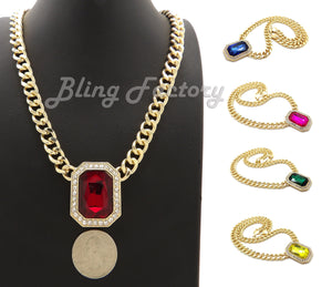 Hip Hop Iced Multi Color Gemstone Pendant & 9mm 18