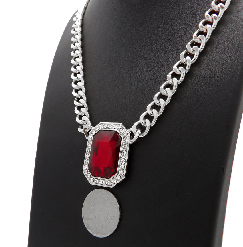 "Hip Hop Iced Multi Color Gemstone Pendant & 9mm 18"" Silver Plated Cuban Choker Chain Necklace"