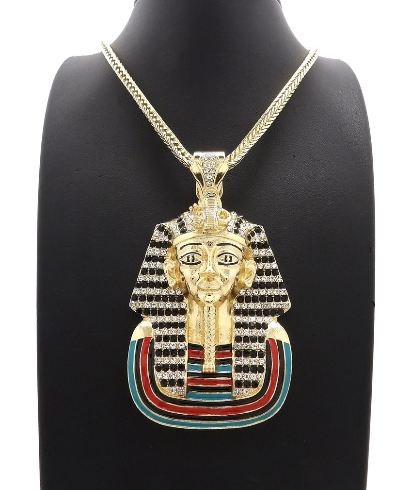 "Hip Hop Iced out Pharaoh King Tut Pendant & 4mm 36"" FRANCO CHAIN HIP HOP NECKLACE"