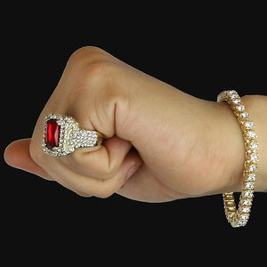 Hip Hop Iced out 14K Gold Plated 1 Row Bracelet & Red Ruby Ring Set