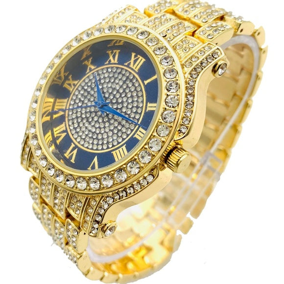 Men Hip Hop Icy Gold PT Rapper's Bling Luxury Lab Diamond Black Dial Metal Watch