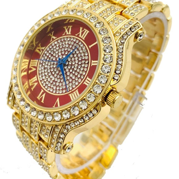 Men Hip Hop Icy Gold PT Rapper's Bling Luxury Lab Diamond Red Dial Metal Watch