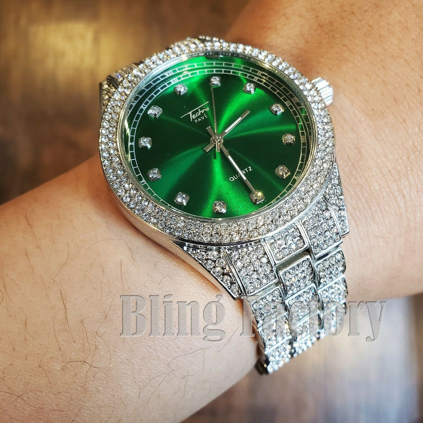 MENS ICED HIP HOP WHITE GOLD PT LUXURY GREEN DIAL METAL BAND WRIST BLING WATCH