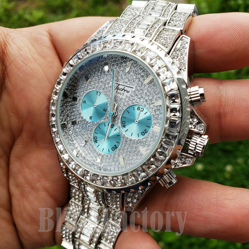 Men Luxury Hip Hop White Gold PT Metal Full Iced Band Clubbing Dress Bling Watch