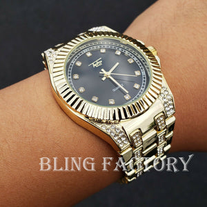 Men's Luxury Hip Hop Gold PT Metal Band Black Dial Designer Style Urban Watch