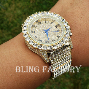 Men Hip Hop Iced Bling Gold PT Rapper's Lab Diamond Urban Metal Offset Watch