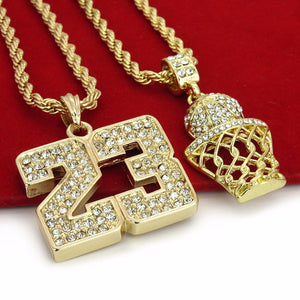 14K Gold Plated Hip Hop Basketball & 23 Pendant w/ 4mm 24