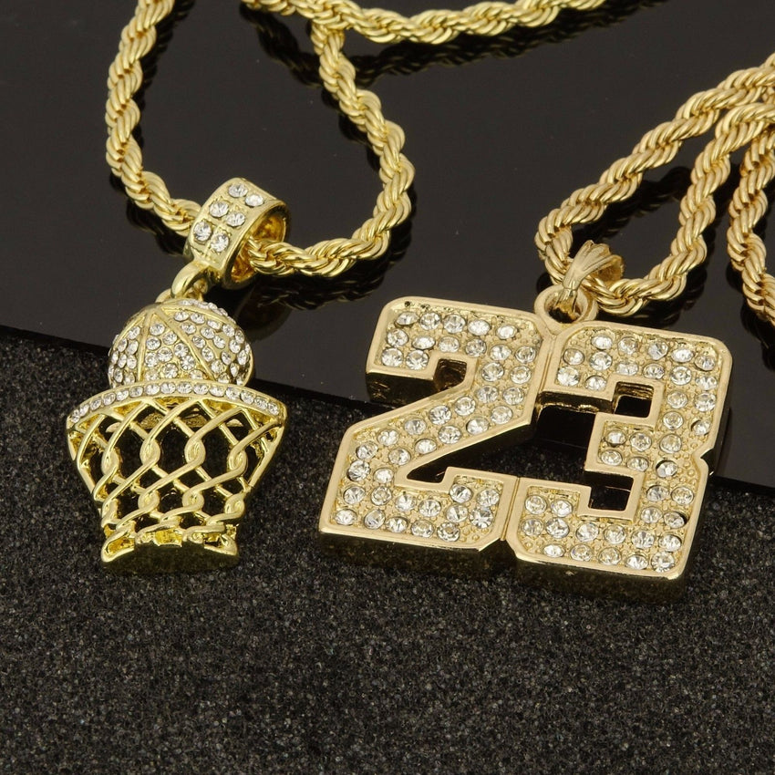 "14K Gold Plated Hip Hop Basketball & 23 Pendant w/ 4mm 24"" Rope Chain Necklace Set"