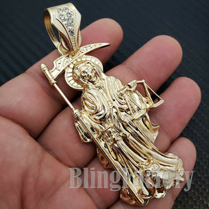 HIP HOP GOLD PLATED FASHION LAB DIAMOND SAINT DEATH SANTA MUERTE CHARM PENDANT