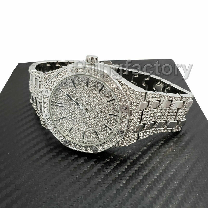 Men's Luxury Designer Style Bling White Gold PT Simulated Diamond Metal Watch