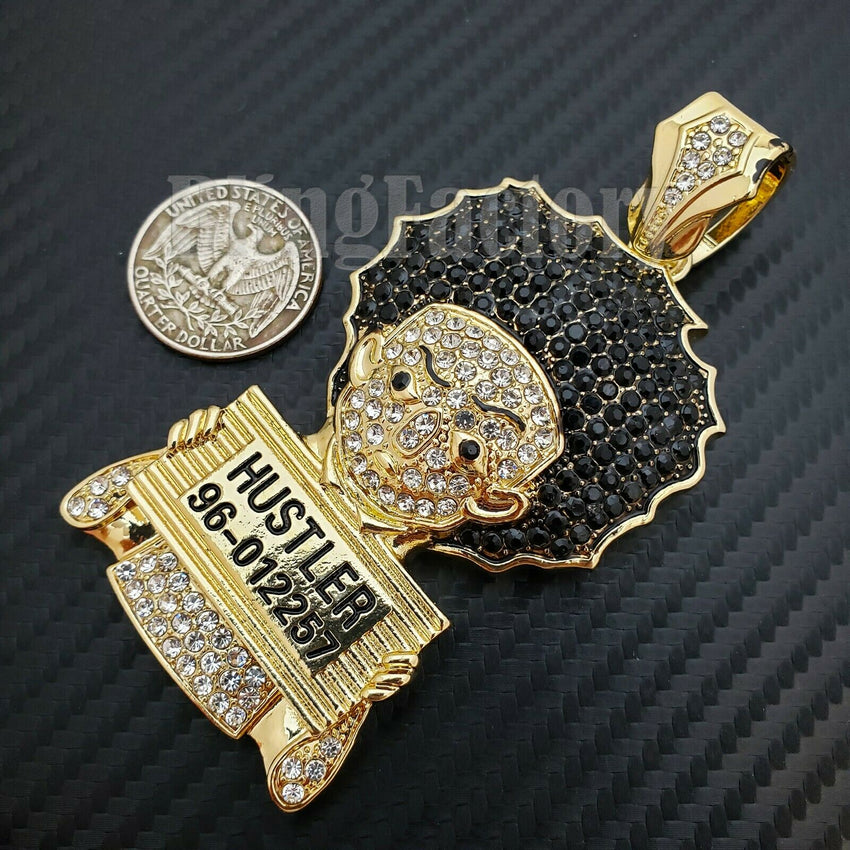 HIP HOP ICED LAB DIAMOND GOLD PLATED HUEY HUSTLER LARGE BUST DOWN CHARM PENDANT