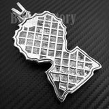 HIP HOP ICED LAB DIAMOND WHITE GOLD PLATED HUEY HUSTLER LARGE BUST DOWN CHARM PENDANT