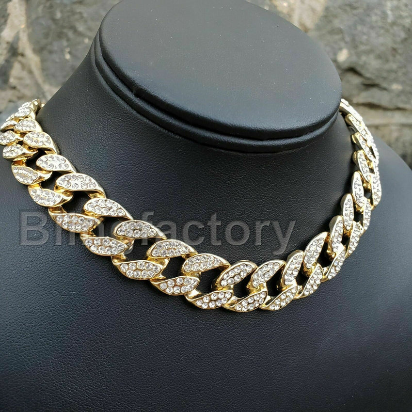 "Hip Hop Iced Large HUEY HUSTLER & 18"" Full Iced Cuban Choker Chain Necklace"