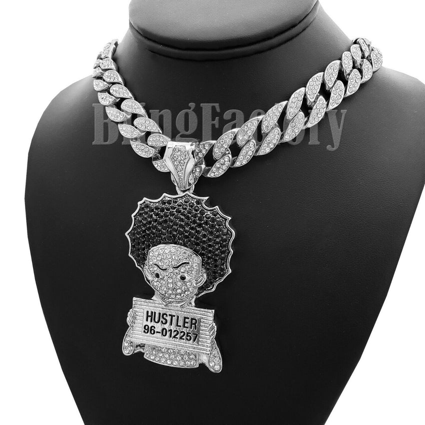 "Hip Hop Iced Silver PT Large HUEY HUSTLER & 18"" Full Iced Cuban Choker Chain Necklace"