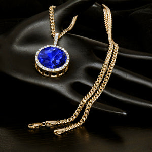 14K Gold Plated Hip Hop Blue Round Ruby Pendant & 3mm 24