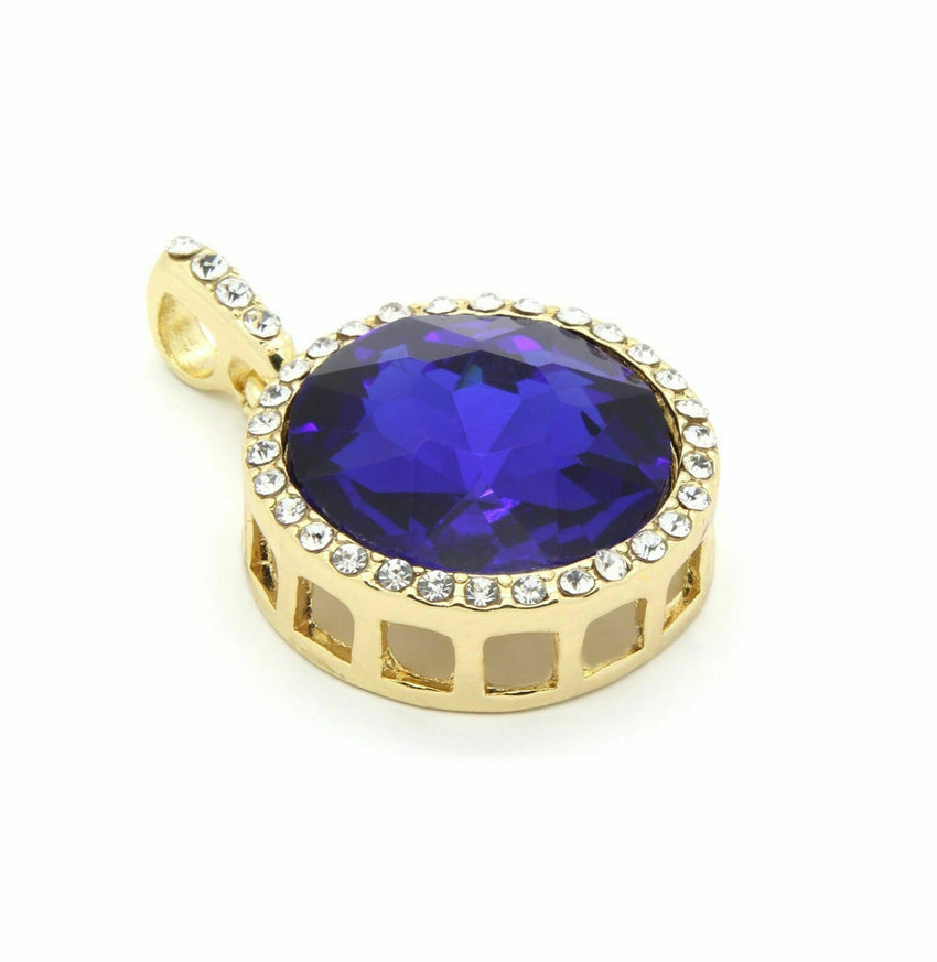 "14K Gold Plated Hip Hop Blue Round Ruby Pendant & 3mm 24"" Cuban Chain Necklace"