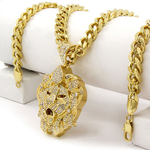 HIP HOP ICED LAB DIAMOND GOLD PT BLING LARGE LION HEAD PENDANT & 30