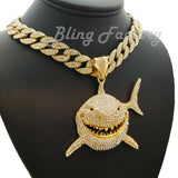 "Hip Hop 6ix9ine Iced Shark Pendant & 16"" 18"" 20"" 24"" 30"" Iced Cuban Choker Chain Bling Necklace"