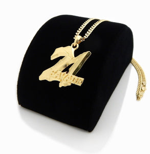 Gold Plated 21 Savage Piece Pendant & 4mm 24