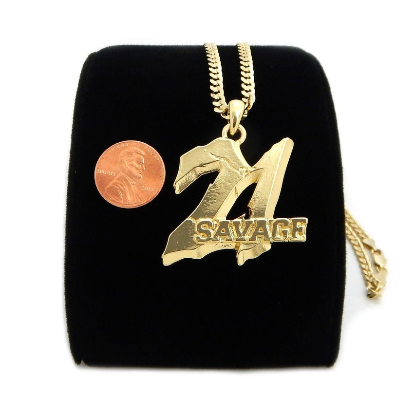 "Gold Plated 21 Savage Piece Pendant & 4mm 24"" Concave Cuban Link Chain Necklace"