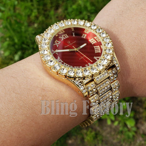 Men's Hip Hop Iced out Red Dial White Gold PT Migos Bling BIG Simulated Diamond Watch