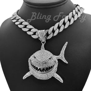 Hip Hop 6ix9ine Silver Plated Shark Pendant & 16mm 16