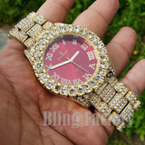 Men's Hip Hop Iced out Red Dial Gold PT Migos Bling BIG Simulated Diamond Watch