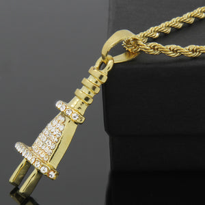 HIP HOP ICED LAB DIAMOND GOLD PT BLING POWER PLUG PENDANT & 4mm 24