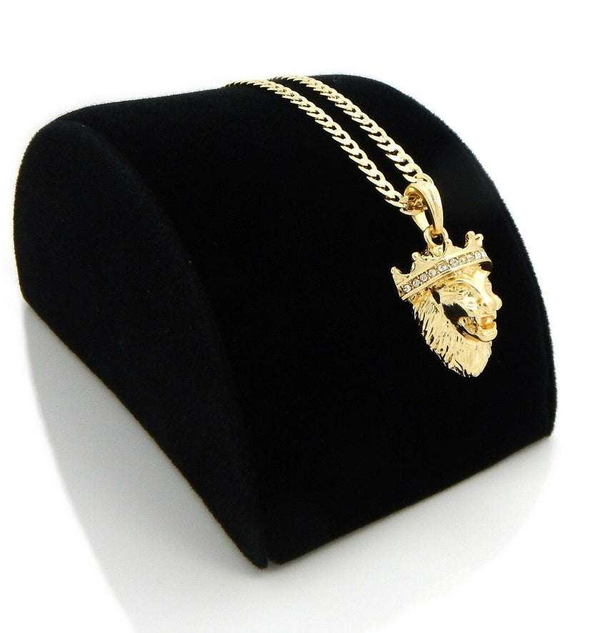"Gold Plated Crowned King Lion Pendant & 4mm 24"" Concave Cuban Link Chain Necklace"