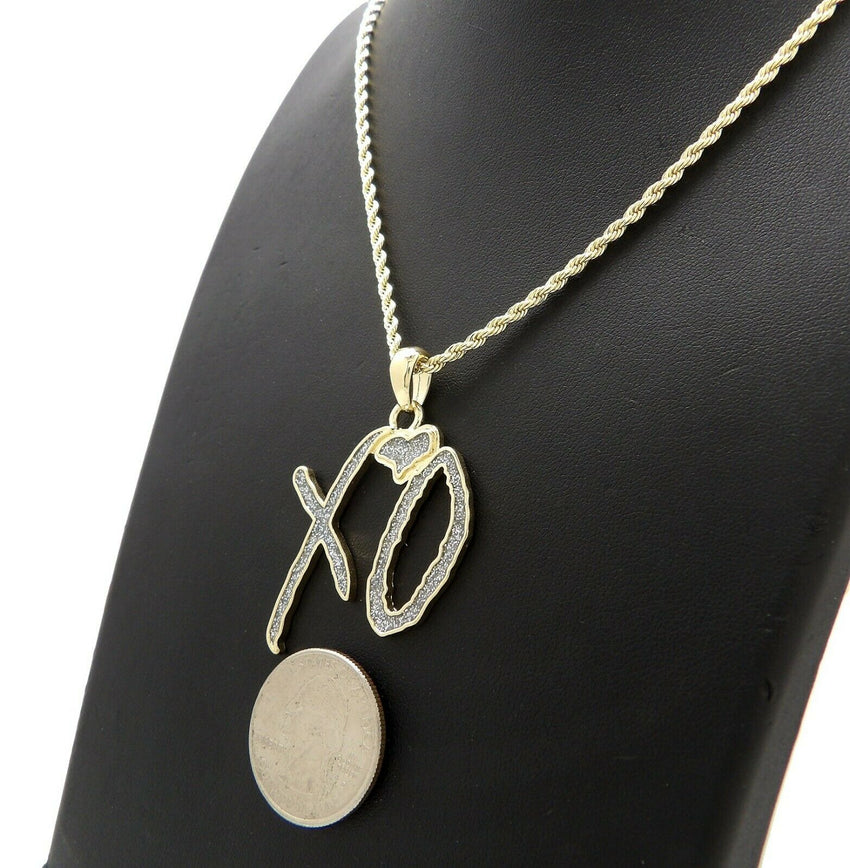 "Hip Hop Glittered XO Gang Gold plated Pendant & 3mm 18"" 20"" 24"" Stainless Steel Rope Chain Necklace"