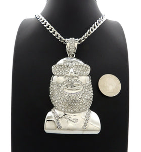 ICED HIP HOP WHITE GOLD PLATED RICK ROSS PENDANT & 7mm 30