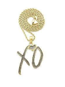 Hip Hop Glittered XO Gang Gold plated Pendant & 3mm 18