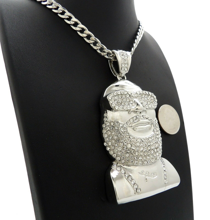 "ICED HIP HOP WHITE GOLD PLATED RICK ROSS PENDANT & 7mm 30"" CUBAN CHAIN NECKLACE"