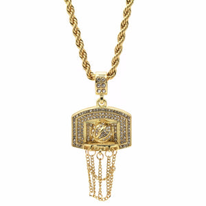 Gold Plated Basketball BACKBOARD Cz Pendant Hip-Hop Chain 24