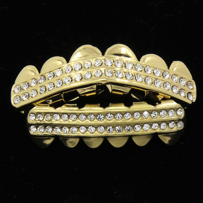 14K Gold 2 Row GRILLZ CZ Top & Bottom Set Teeth Hip Hop Bling Grill