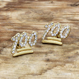 Men's 14K Gold Plated Emoji 100 Lab Diamond Hip Hop Earrings
