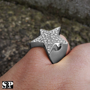 MEN'S ICED OUT HIP HOP LUXURY LAB DIAMOND WHITE GOLD PLATED STAR PINKY 8 ~ 12 RING