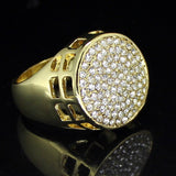 Hip Hop Mens Iced out Cz Flat Screen Round Band 14k Gold Plated Pinky Ring