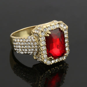 Hip Hop Mens Iced out 14K Gold Plated Red Gemstone Pinky Ring