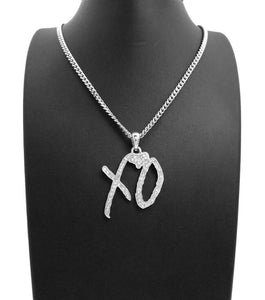 Hip Hop Iced XO Gang White Gold plated Pendant & 3mm 18