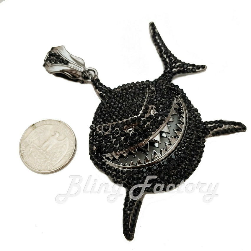 Iced Hip Hop Style 6ix9ine Large Black Shark Bling Lab Diamond Charm Pendant