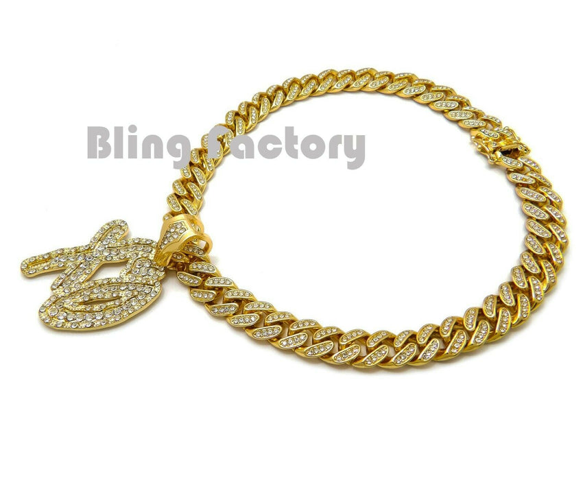 "Gold Plated XO Gang pendant & 16"" 18"" 20"" Iced Box Lock Cuban Choker Chain Hip Hop Necklace"