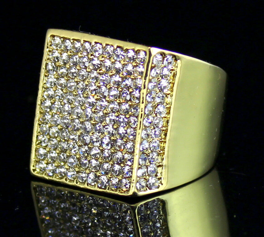 MENS ICED OUT HIP HOP LUXURY RAPPER'S LAB DIAMOND GOLD PLATED PINKY 8 ~ 12 RING