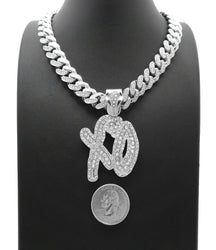 White Gold Plated XO Gang pendant & 16